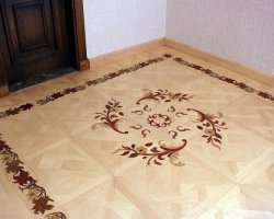 Maple tiles with padouk, mahogany, oak and wenge inlays